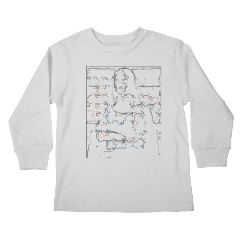 Mona Lisa Digital Lines Kids Longsleeve T-Shirt by Puttyhead's Artist Shop