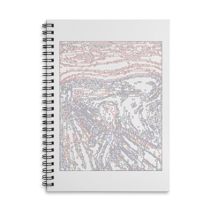 The Scream - Digital Lines Accessories Lined Spiral Notebook by Puttyhead's Artist Shop