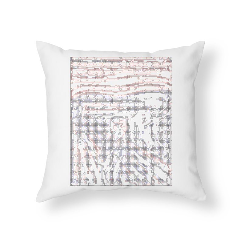 The Scream - Digital Lines Home Throw Pillow by Puttyhead's Artist Shop