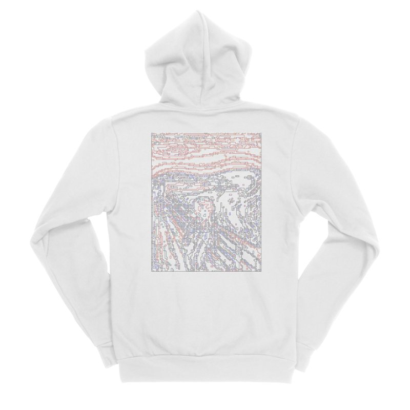 The Scream - Digital Lines Men's Sponge Fleece Zip-Up Hoody by Puttyhead's Artist Shop