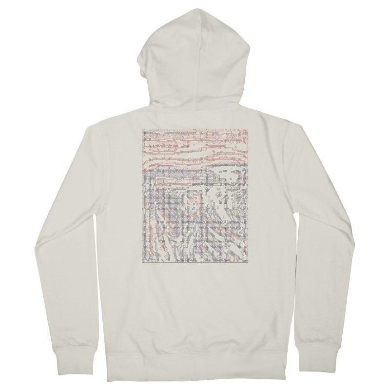 The Scream - Digital Lines Men's French Terry Zip-Up Hoody by Puttyhead's Artist Shop