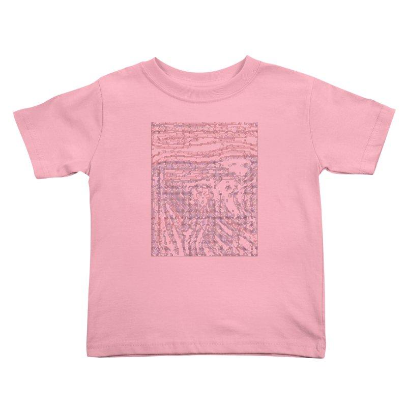 The Scream - Digital Lines Kids Toddler T-Shirt by Puttyhead's Artist Shop