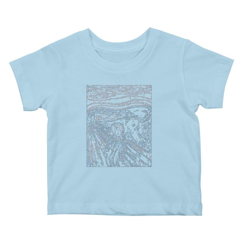 The Scream - Digital Lines Kids Baby T-Shirt by Puttyhead's Artist Shop