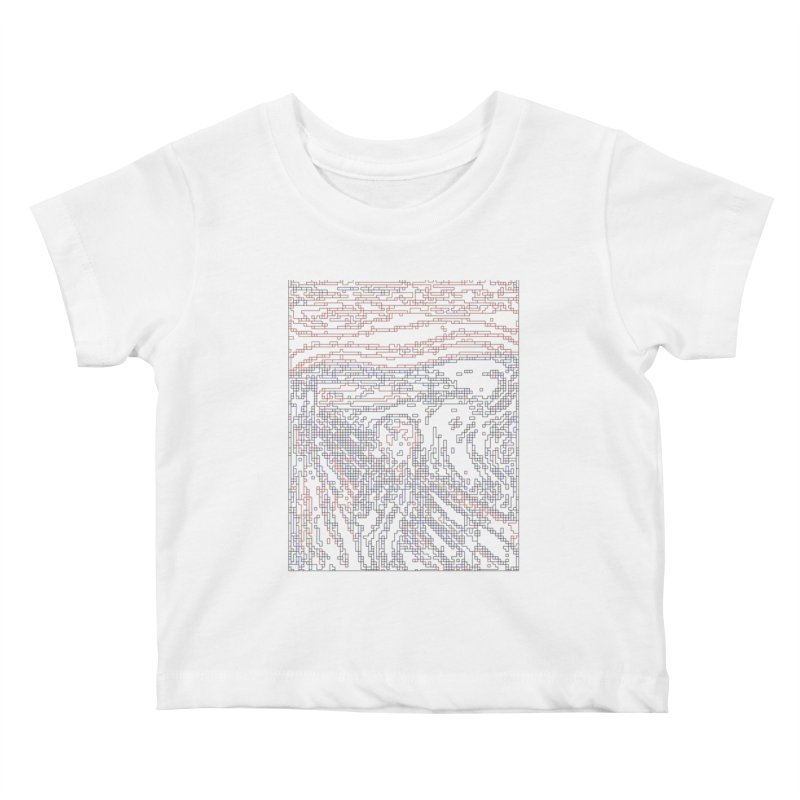The Scream - Digital Lines Kids Baby T-Shirt by Puttyhead's Artist Shop