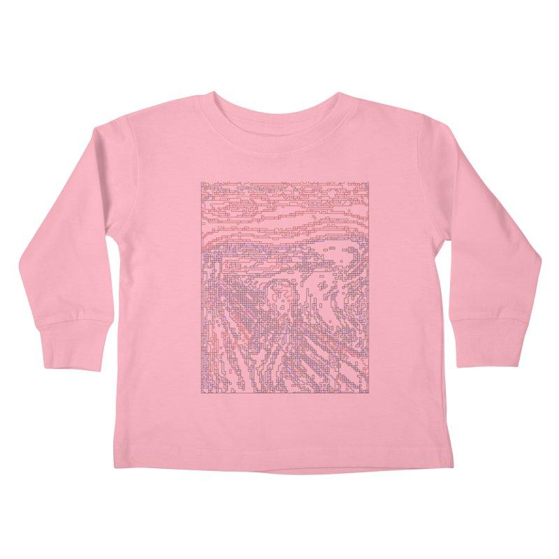 The Scream - Digital Lines Kids Toddler Longsleeve T-Shirt by Puttyhead's Artist Shop