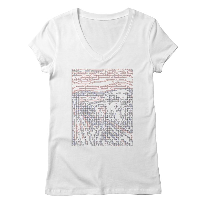 The Scream - Digital Lines Women's Regular V-Neck by Puttyhead's Artist Shop