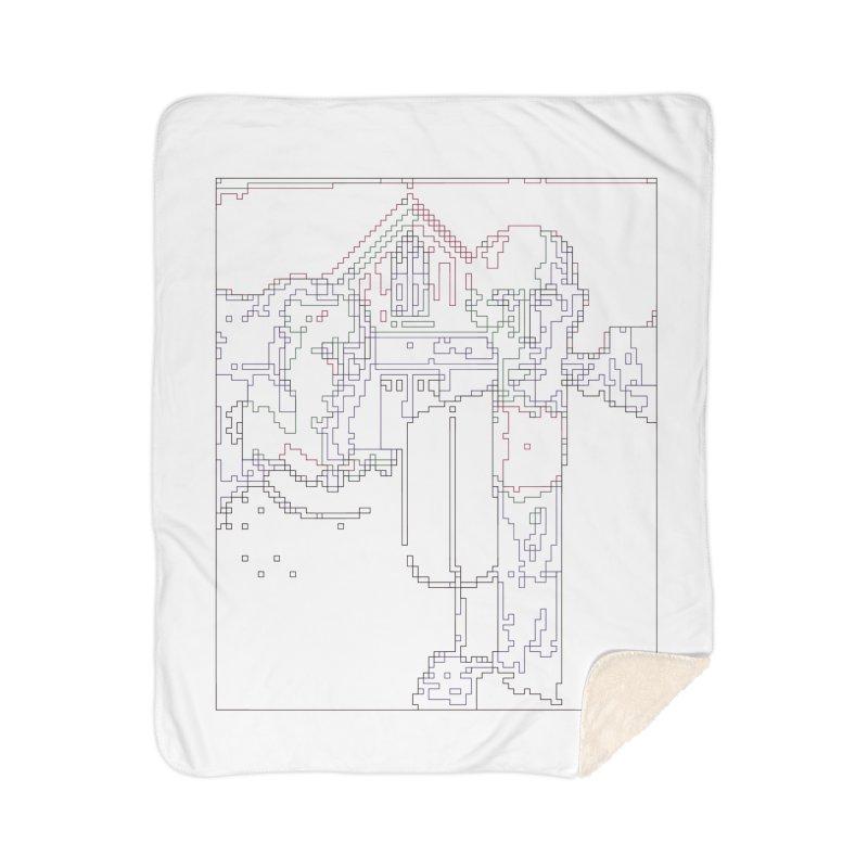 American Gothic - Digital Lines Home Sherpa Blanket Blanket by Puttyhead's Artist Shop