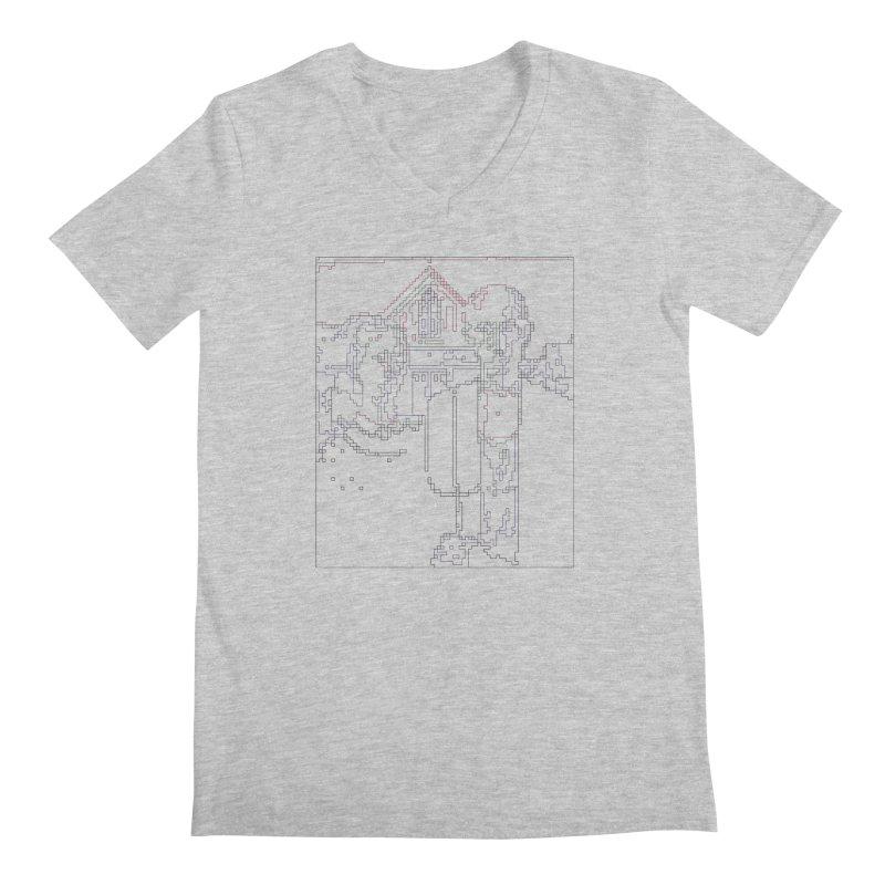 American Gothic - Digital Lines Men's Regular V-Neck by Puttyhead's Artist Shop