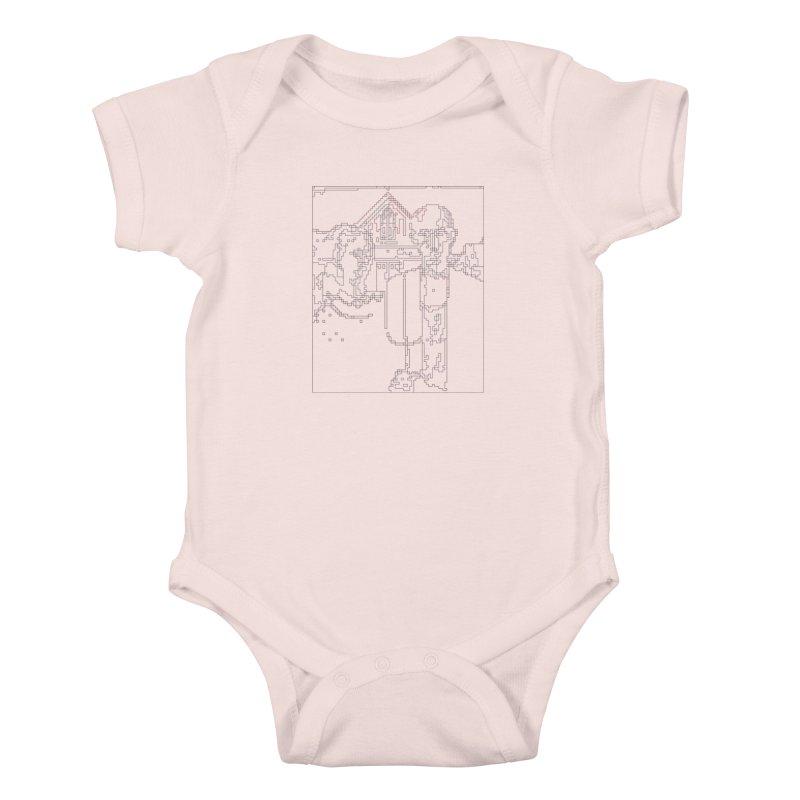 American Gothic - Digital Lines Kids Baby Bodysuit by Puttyhead's Artist Shop