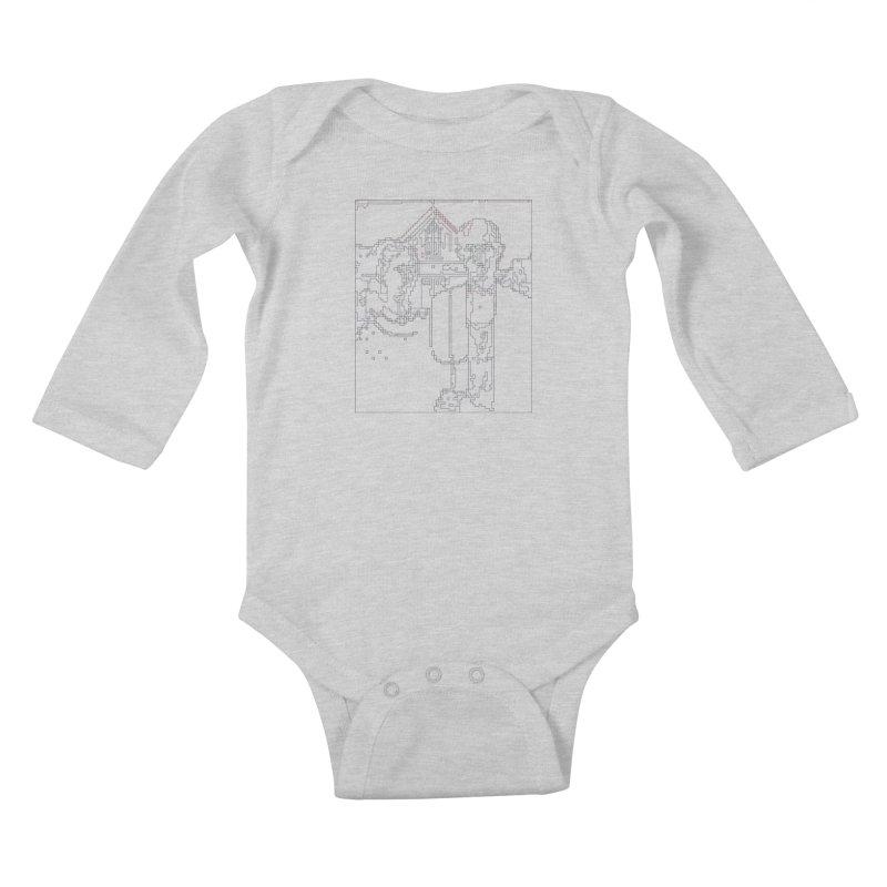 American Gothic - Digital Lines Kids Baby Longsleeve Bodysuit by Puttyhead's Artist Shop