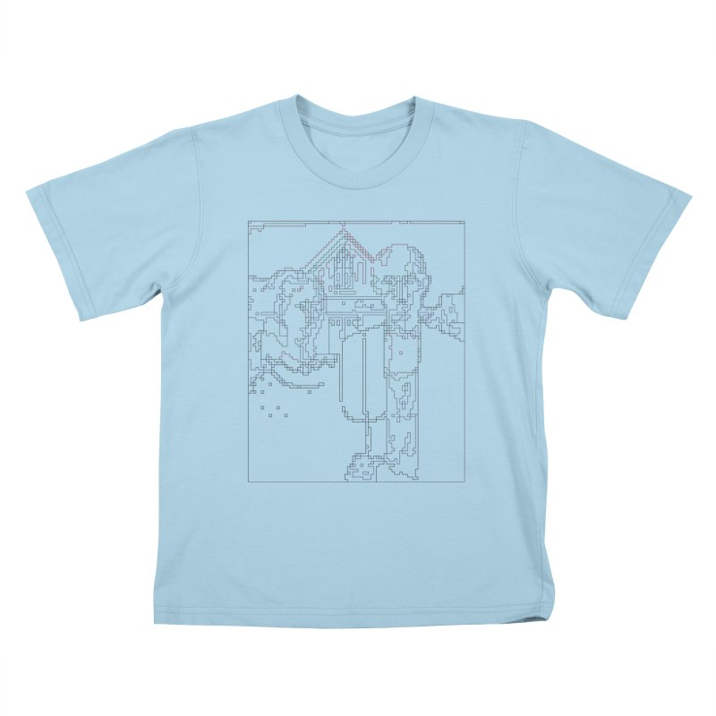 American Gothic - Digital Lines Kids T-Shirt by Puttyhead's Artist Shop