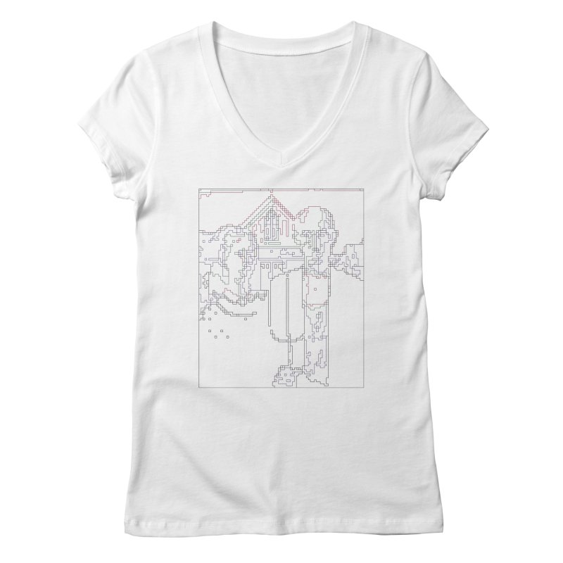 American Gothic - Digital Lines Women's Regular V-Neck by Puttyhead's Artist Shop