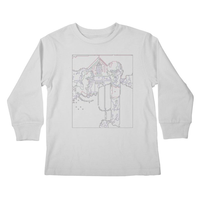 American Gothic - Digital Lines Kids Longsleeve T-Shirt by Puttyhead's Artist Shop