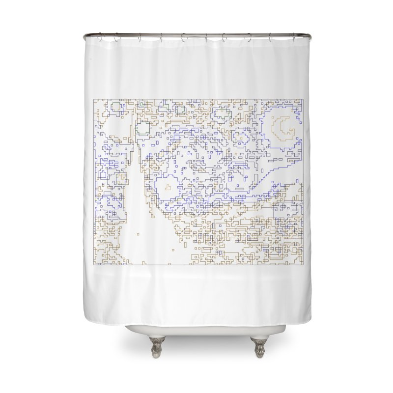 Starry Night - Digital Lines Home Shower Curtain by Puttyhead's Artist Shop