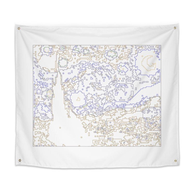 Starry Night - Digital Lines Home Tapestry by Puttyhead's Artist Shop