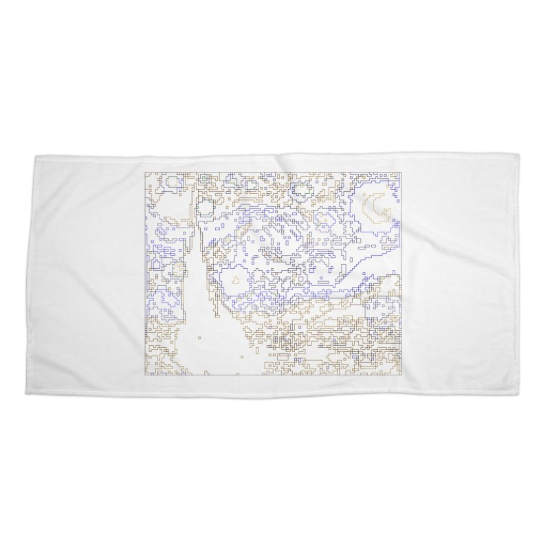 Starry Night - Digital Lines Accessories Beach Towel by Puttyhead's Artist Shop