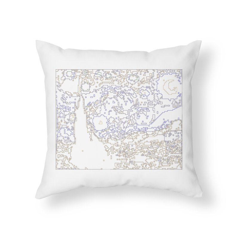 Starry Night - Digital Lines Home Throw Pillow by Puttyhead's Artist Shop