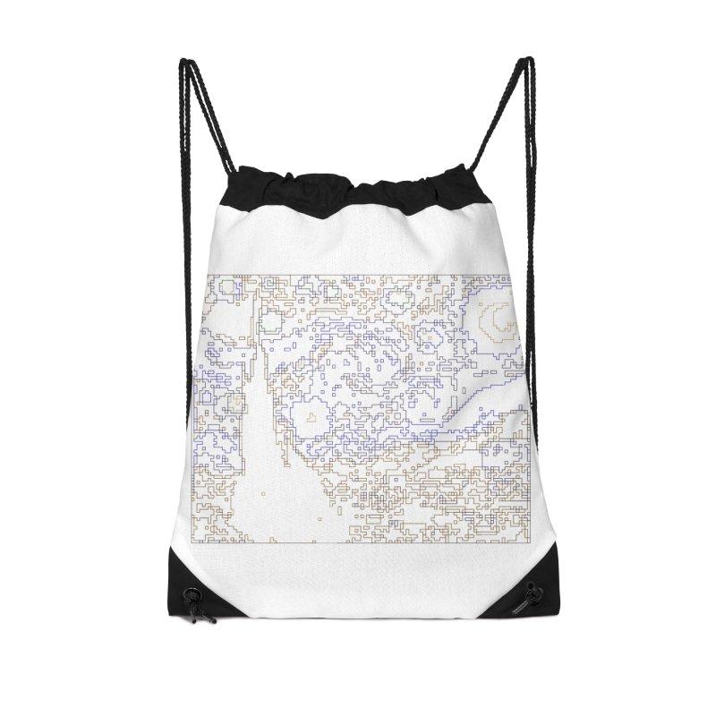 Starry Night - Digital Lines Accessories Drawstring Bag Bag by Puttyhead's Artist Shop