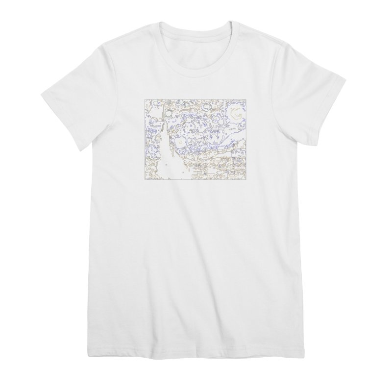 Starry Night - Digital Lines Women's Premium T-Shirt by Puttyhead's Artist Shop
