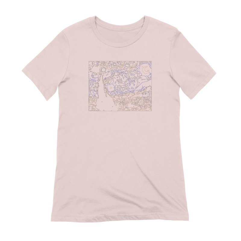 Starry Night - Digital Lines Women's Extra Soft T-Shirt by Puttyhead's Artist Shop