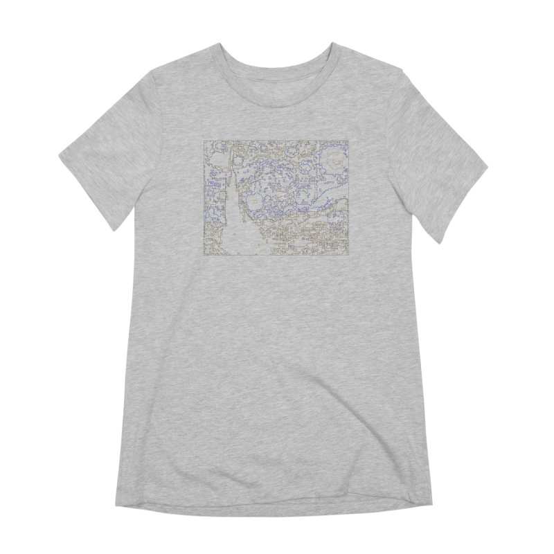 Starry Night - Digital Lines Women's Extra Soft T-Shirt by Puttyhead's Artist Shop