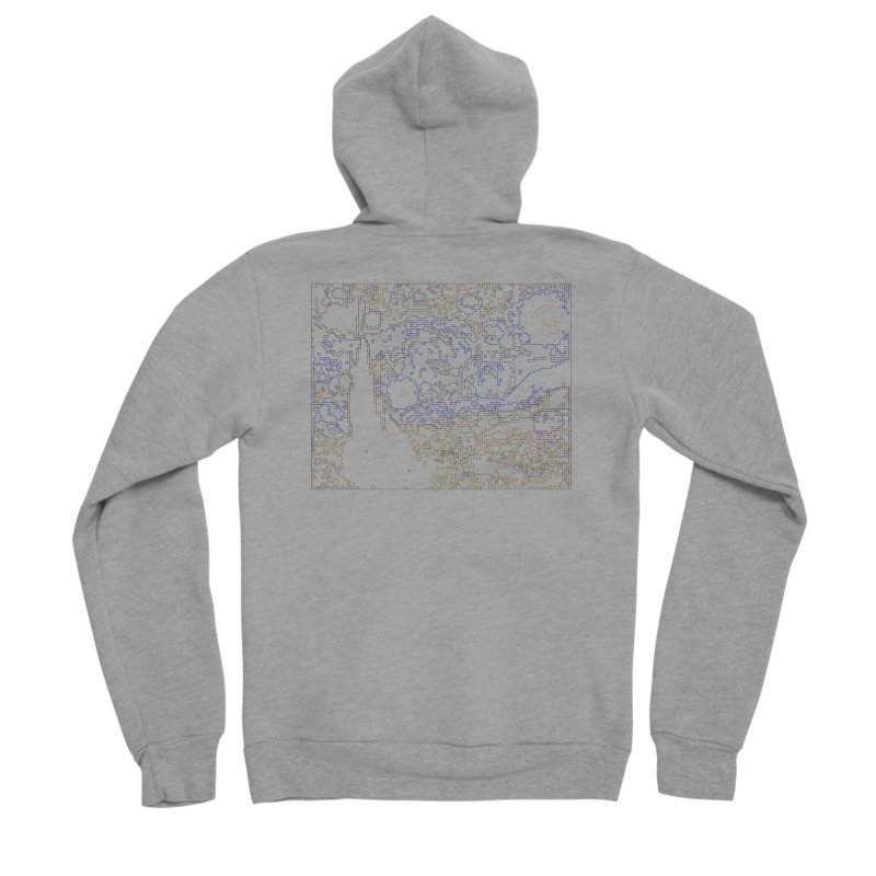 Starry Night - Digital Lines Men's Sponge Fleece Zip-Up Hoody by Puttyhead's Artist Shop