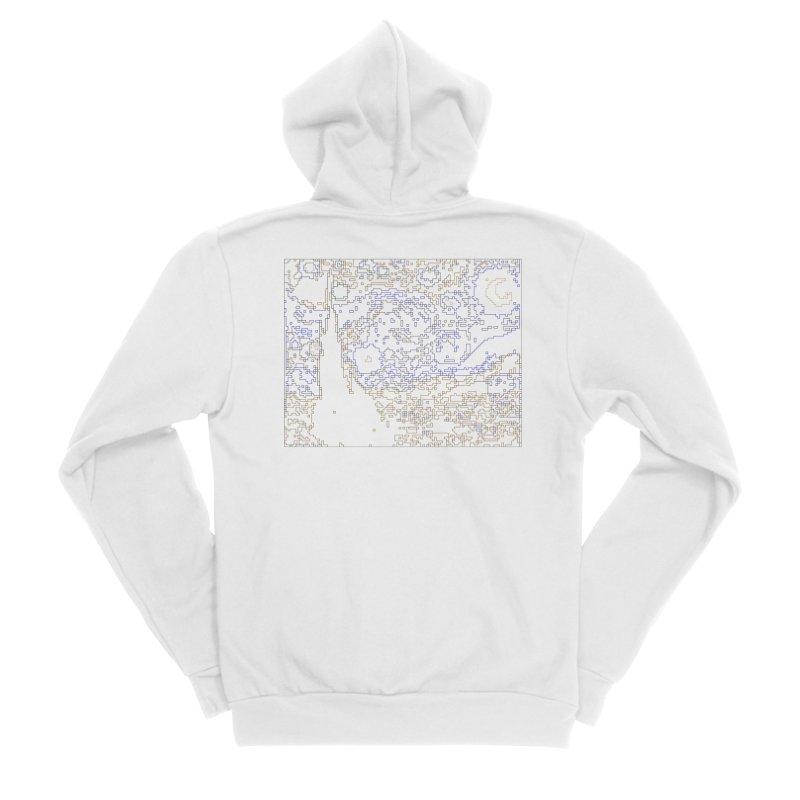 Starry Night - Digital Lines Men's Sponge Fleece Zip-Up Hoody by Puttyhead's Artist Shop