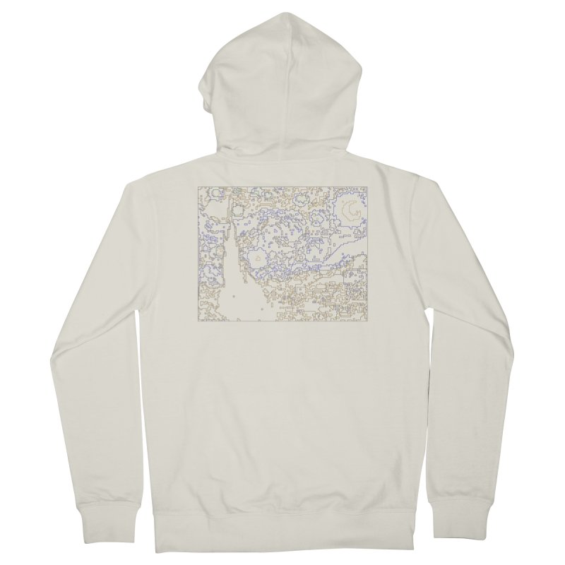 Starry Night - Digital Lines Men's French Terry Zip-Up Hoody by Puttyhead's Artist Shop