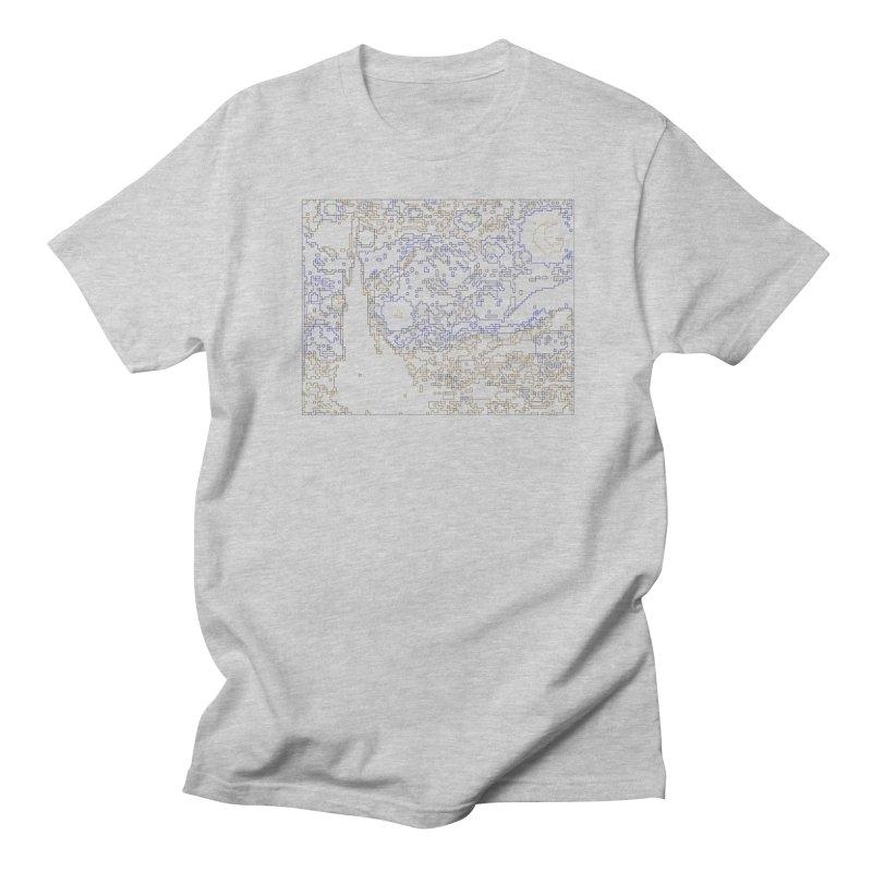 Starry Night - Digital Lines Men's Regular T-Shirt by Puttyhead's Artist Shop