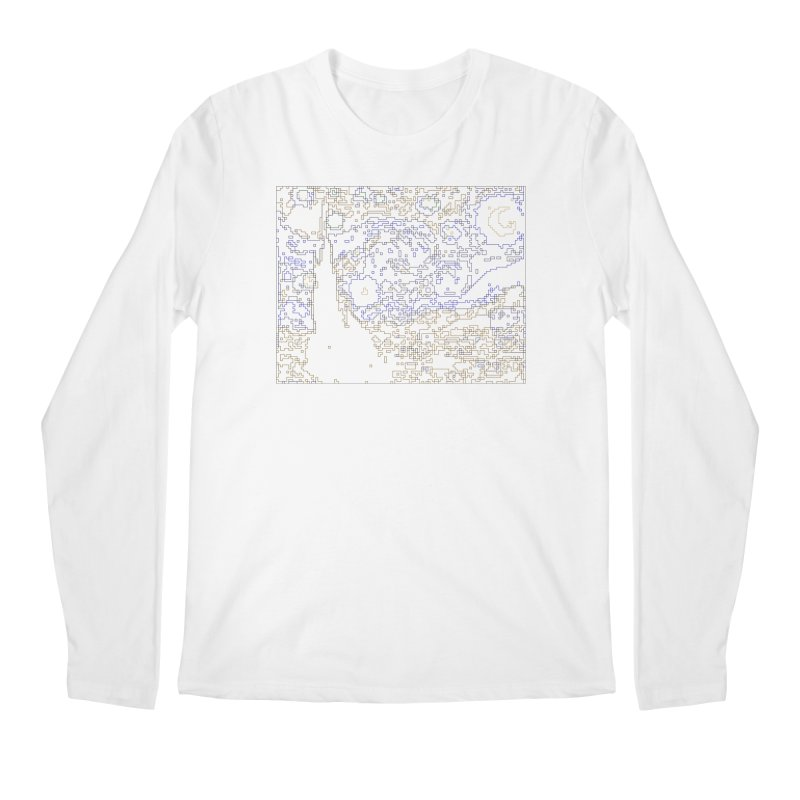 Starry Night - Digital Lines Men's Regular Longsleeve T-Shirt by Puttyhead's Artist Shop