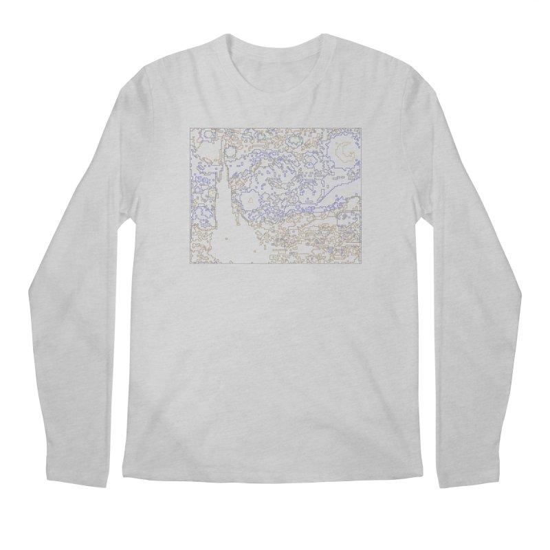 Starry Night - Digital Lines Men's Regular Longsleeve T-Shirt by Puttyhead's Artist Shop