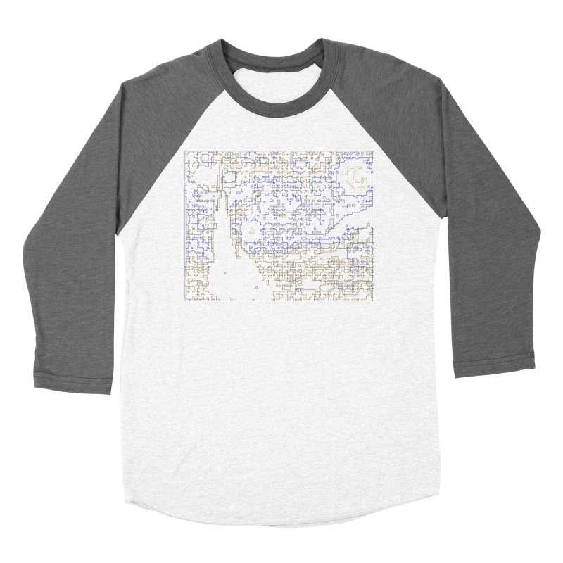 Starry Night - Digital Lines Women's Baseball Triblend Longsleeve T-Shirt by Puttyhead's Artist Shop