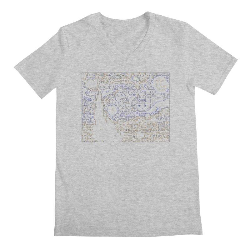 Starry Night - Digital Lines Men's Regular V-Neck by Puttyhead's Artist Shop