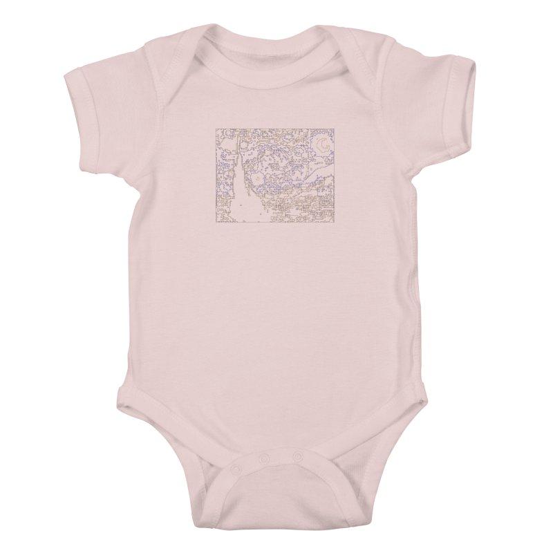 Starry Night - Digital Lines Kids Baby Bodysuit by Puttyhead's Artist Shop