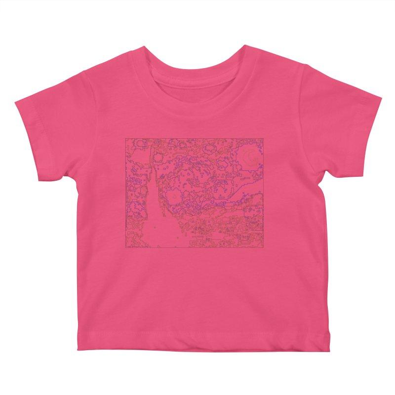 Starry Night - Digital Lines Kids Baby T-Shirt by Puttyhead's Artist Shop