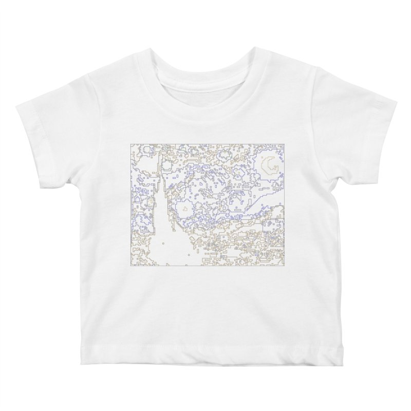 Starry Night - Digital Lines Kids Baby T-Shirt by Puttyhead's Artist Shop