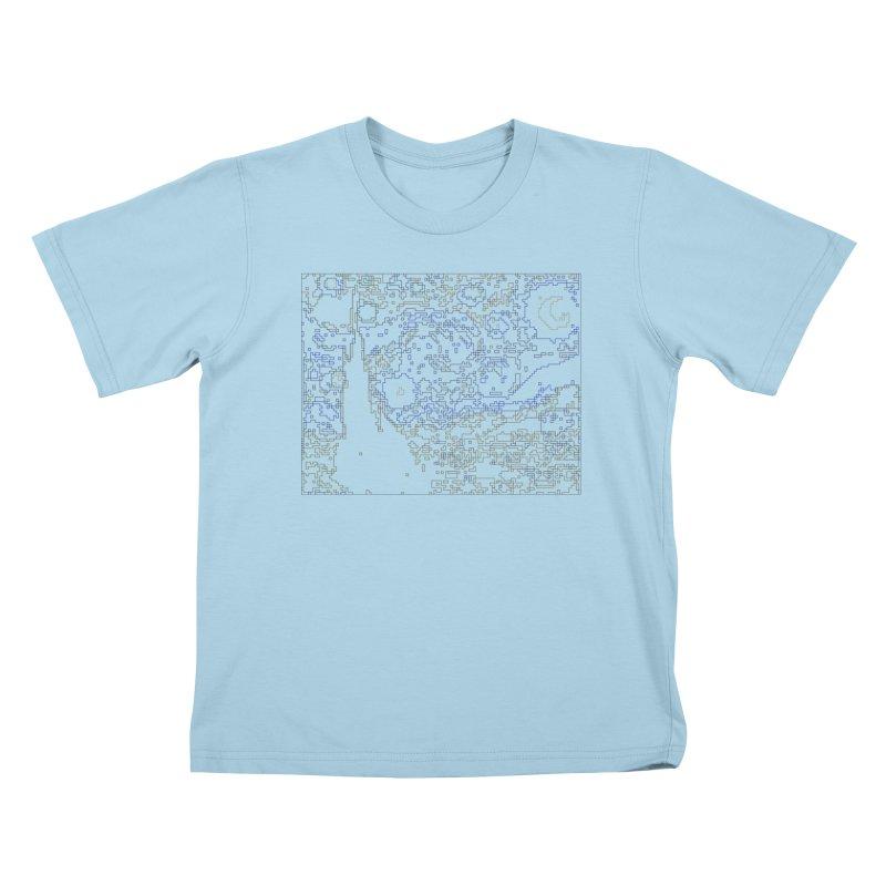 Starry Night - Digital Lines Kids T-Shirt by Puttyhead's Artist Shop