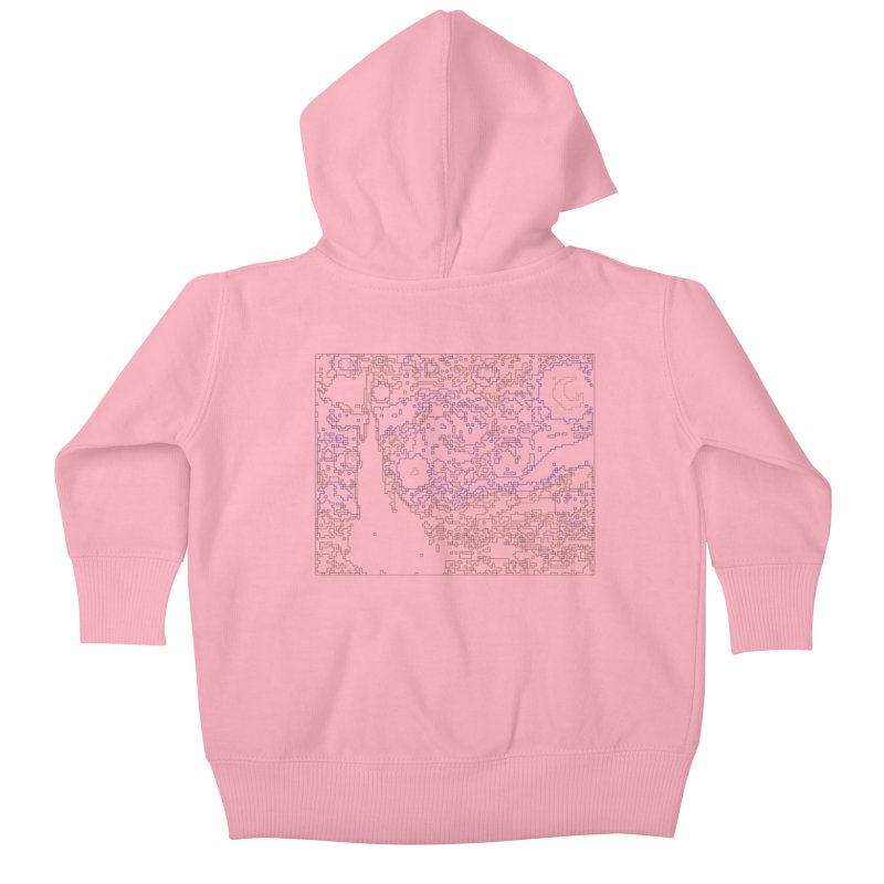 Starry Night - Digital Lines Kids Baby Zip-Up Hoody by Puttyhead's Artist Shop