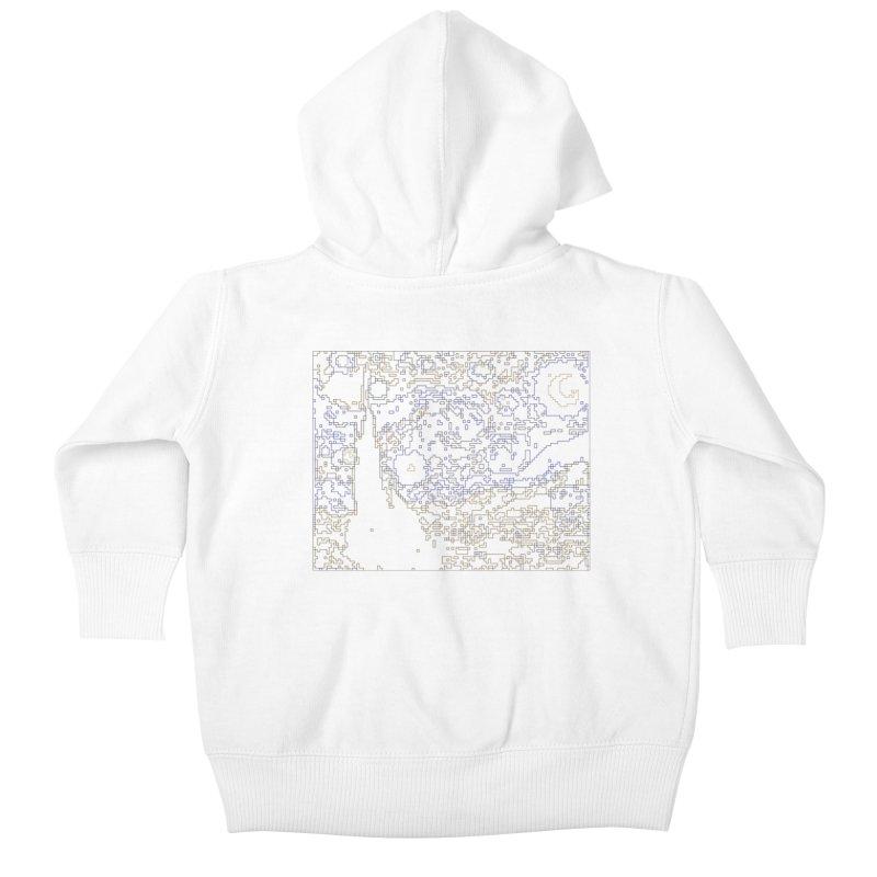 Starry Night - Digital Lines Kids Baby Zip-Up Hoody by Puttyhead's Artist Shop
