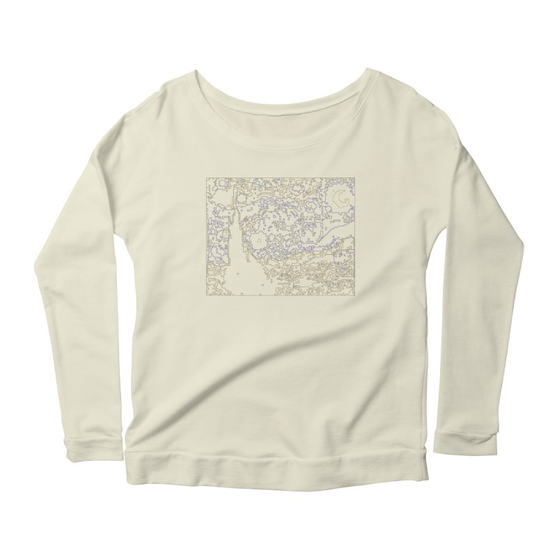Starry Night - Digital Lines Women's Scoop Neck Longsleeve T-Shirt by Puttyhead's Artist Shop