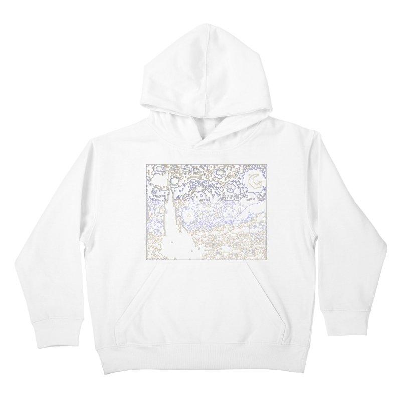 Starry Night - Digital Lines Kids Pullover Hoody by Puttyhead's Artist Shop