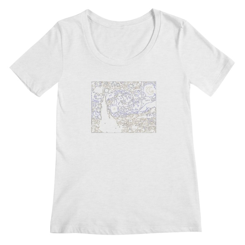 Starry Night - Digital Lines Women's Regular Scoop Neck by Puttyhead's Artist Shop