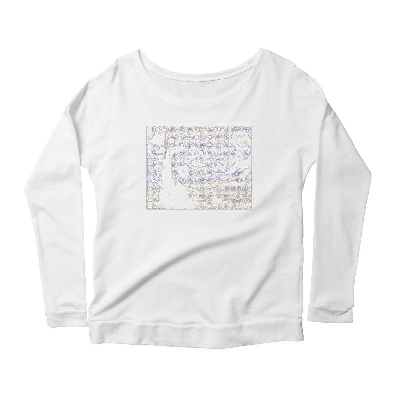 Starry Night - Digital Lines Women's Scoop Neck Longsleeve T-Shirt by Puttyhead's Artist Shop