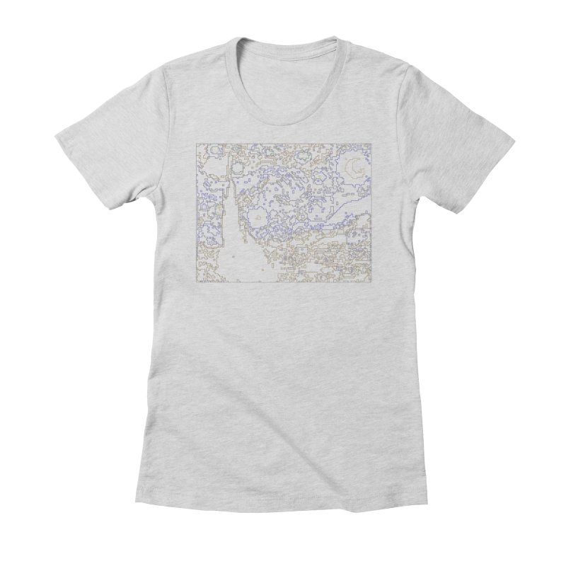 Starry Night - Digital Lines Women's Fitted T-Shirt by Puttyhead's Artist Shop