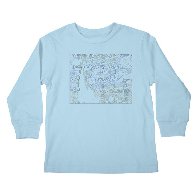 Starry Night - Digital Lines Kids Longsleeve T-Shirt by Puttyhead's Artist Shop