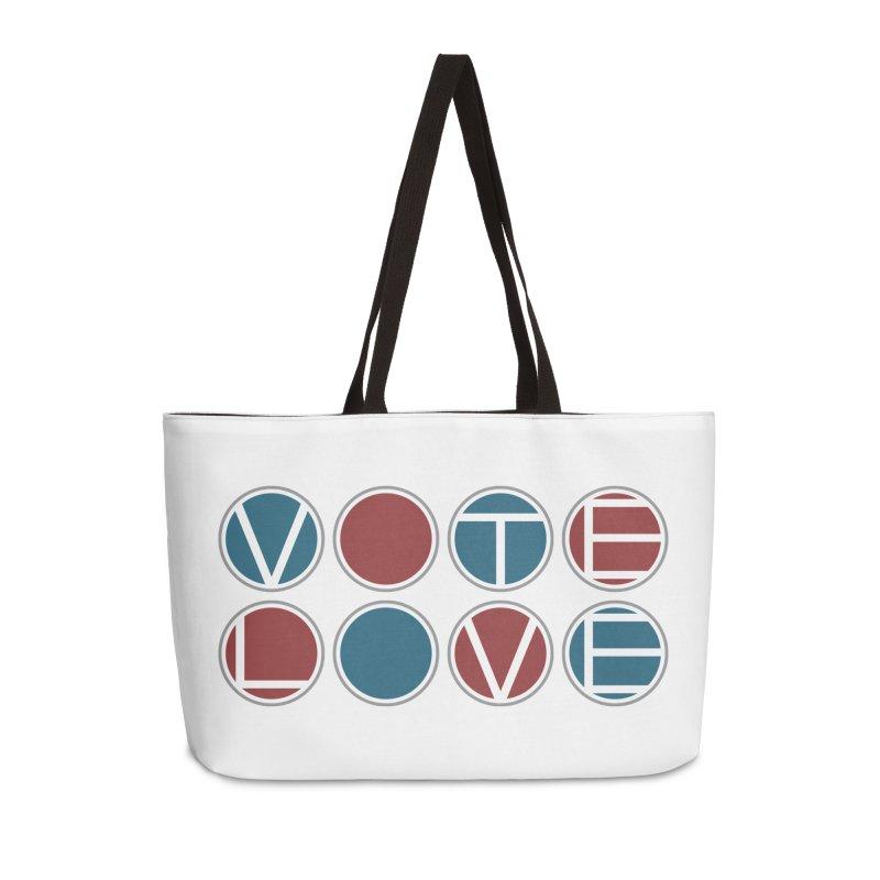 Vote Love Accessories Weekender Bag Bag by Puttyhead's Artist Shop