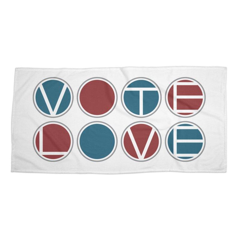 Vote Love Accessories Beach Towel by Puttyhead's Artist Shop