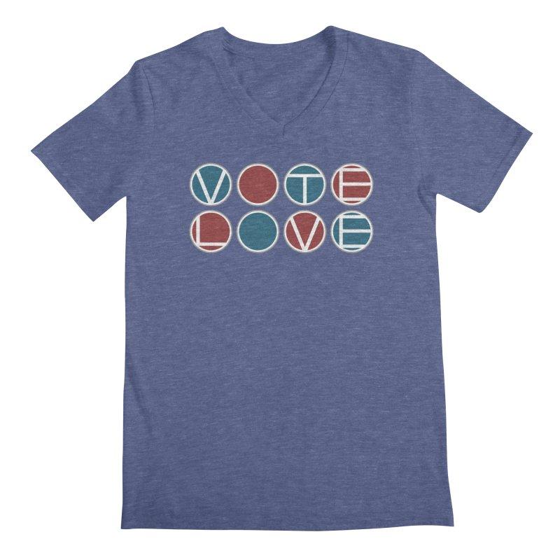Vote Love Men's Regular V-Neck by Puttyhead's Artist Shop
