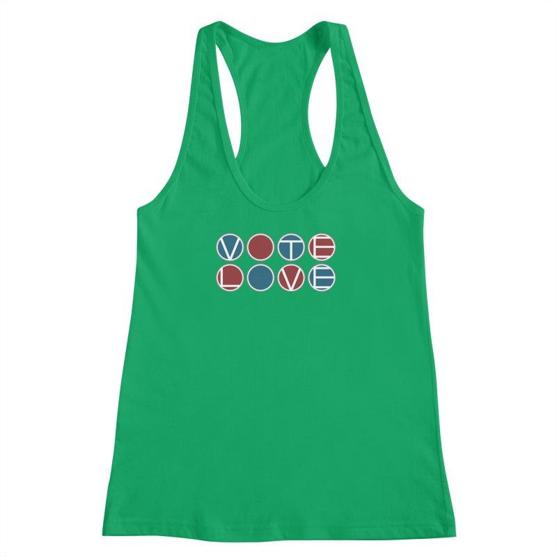 Vote Love Women's Racerback Tank by Puttyhead's Artist Shop