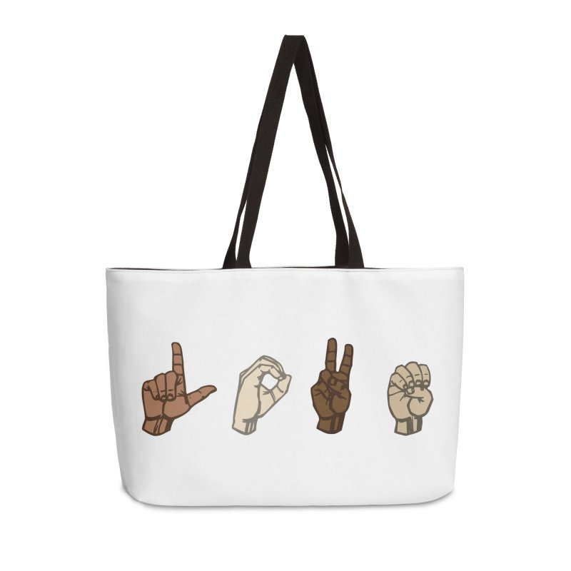 Love Sign Accessories Weekender Bag Bag by Puttyhead's Artist Shop